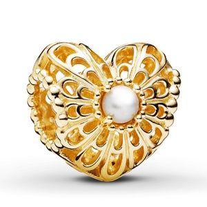 New Pandora Vintage Heart charm cultured pearl
